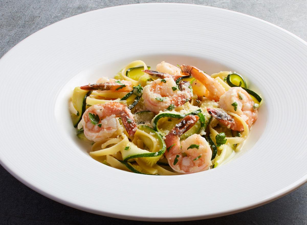 Healthiest restaurant dish California pizza kitchen zucchini shrimp scampi