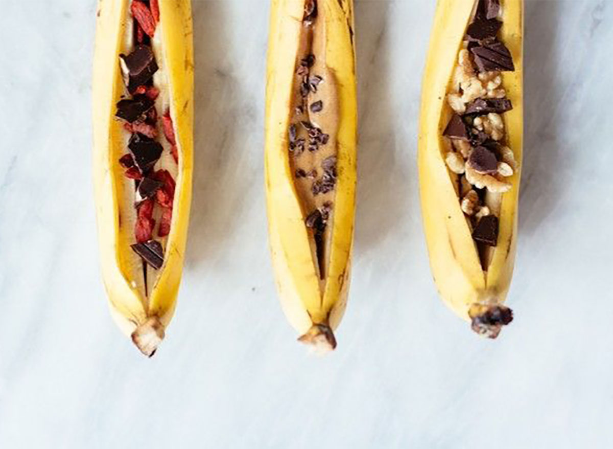campfire banana boats with chocolate chips