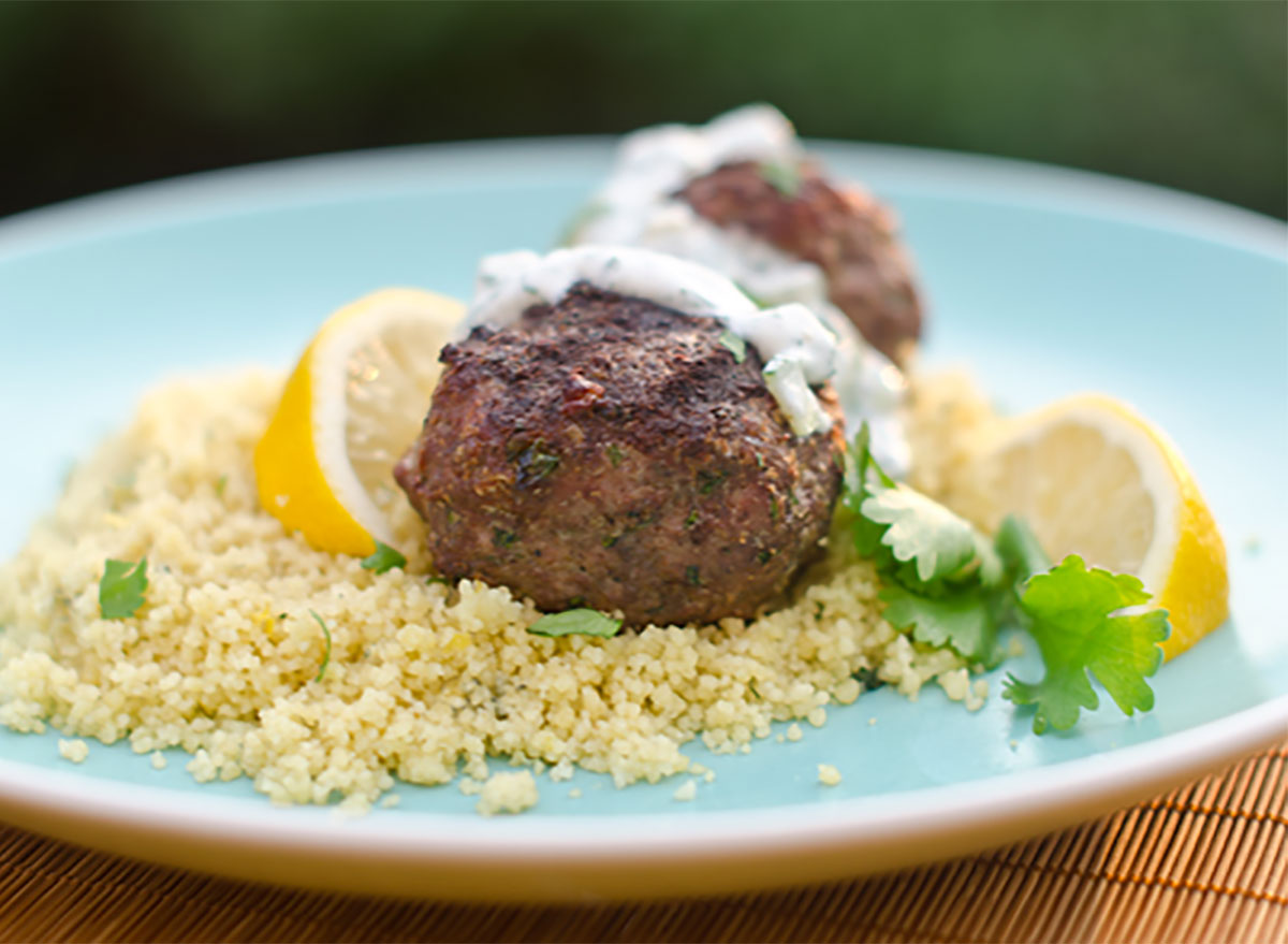 grilled moroccan meatballs on rice