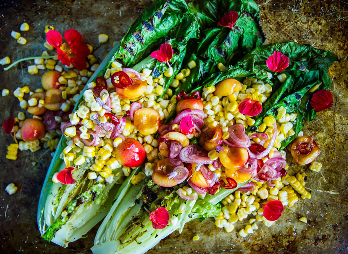 grilled romaine topped with corn
