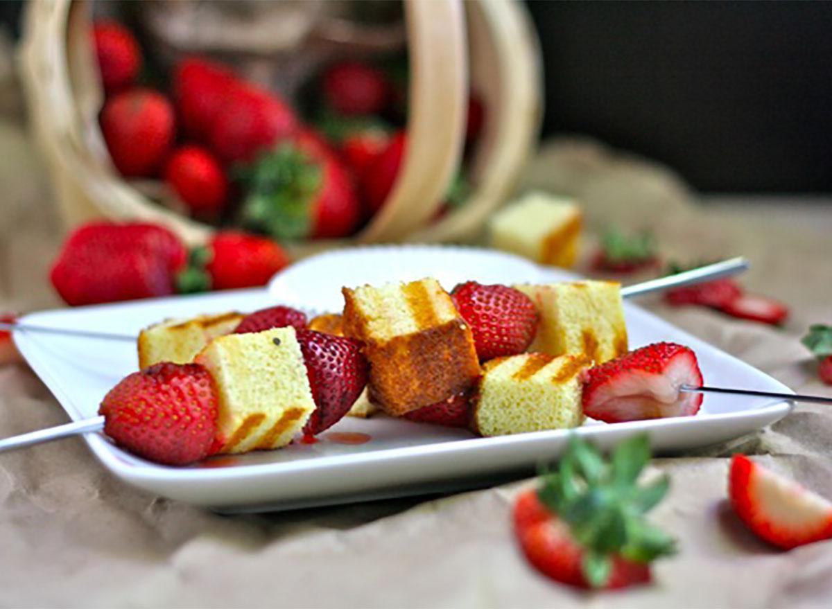 grilled strawberry shortcake kebabs on platter