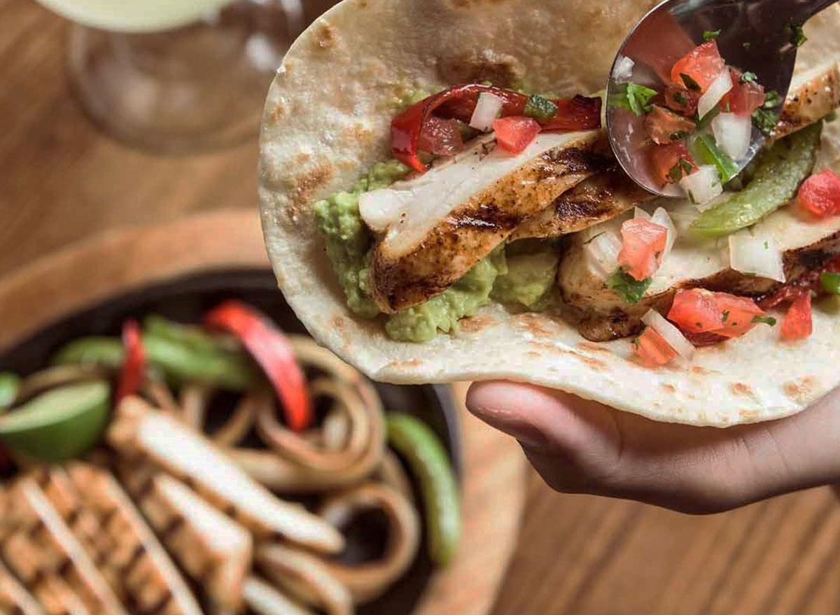 Healthiest restaurant dish On the border border smart chicken fajitas