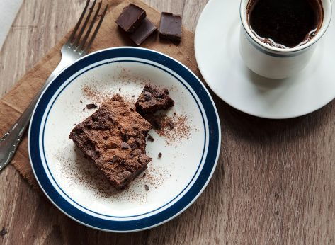 brownie with coffee