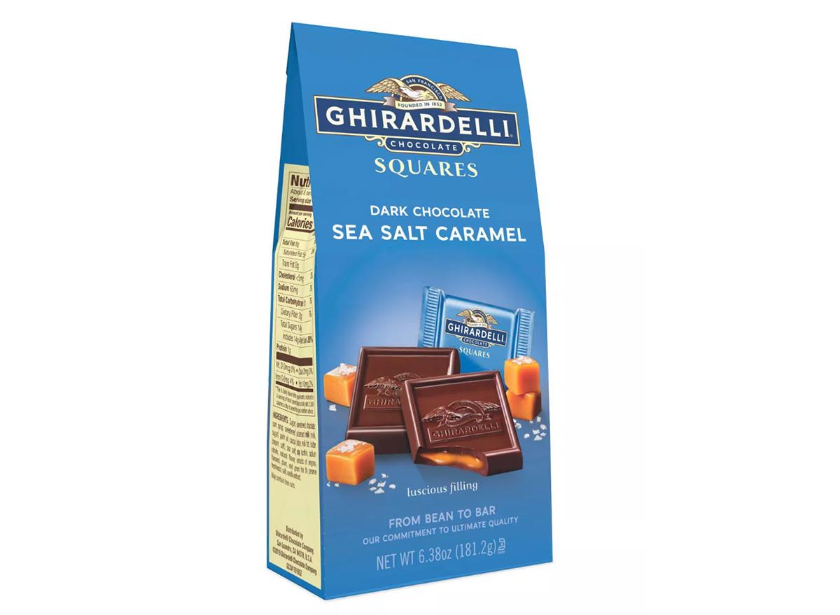 Ghiradelli dark chocolate sea salt caramel squares