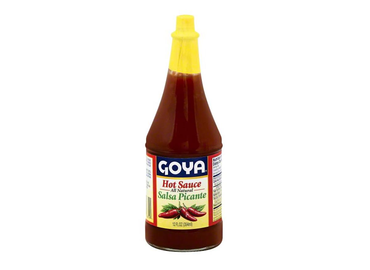 bottle of goya hot sauce