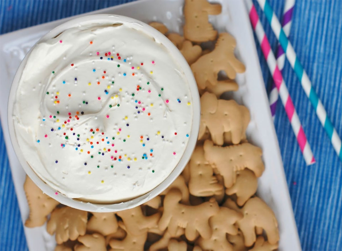 cheesecake cake batter dip with animal crackers