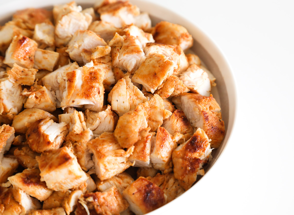 Cubed diced grilled chicken