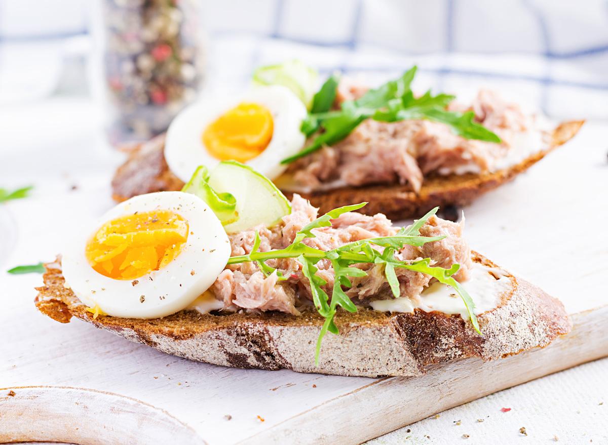 tuna egg salad crostini