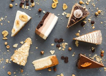 flavored cheesecake slices on serving board