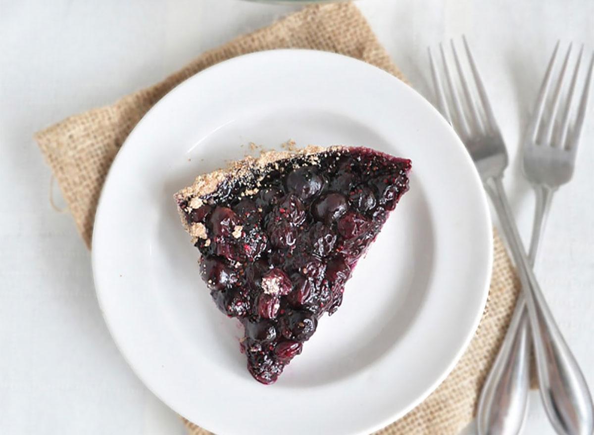 slice of vegan blueberry pie