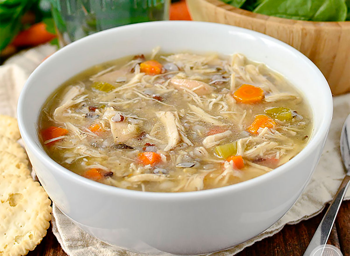 chicken soup bowl with carrots and wild rice