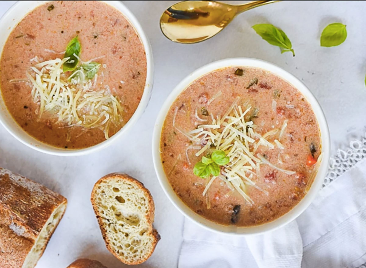 crockpot tomato basil soup in two bowls