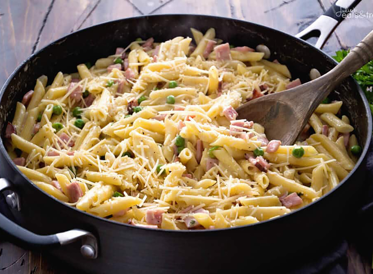 ham and penne skillet in pan with spoon