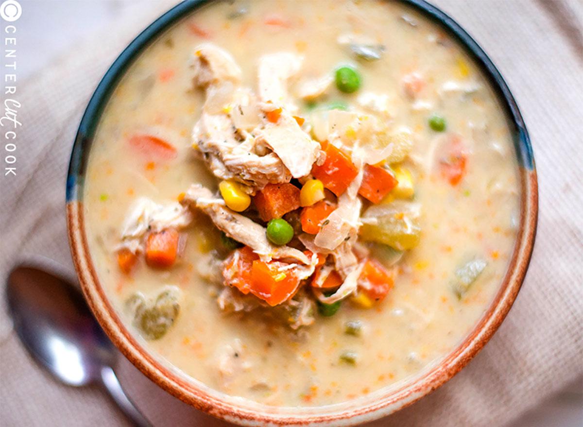 bowl of chicken pot pie stew