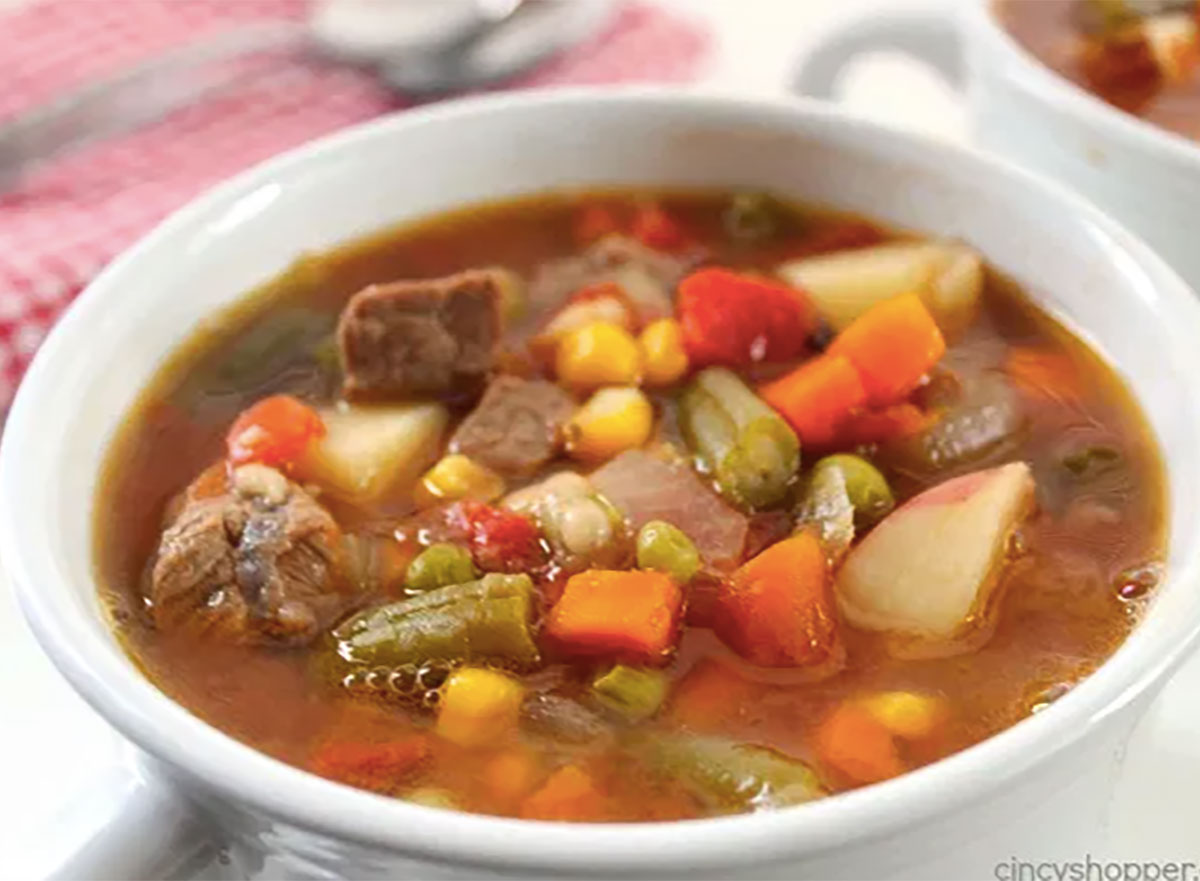 bowl of slow cooker beef soup
