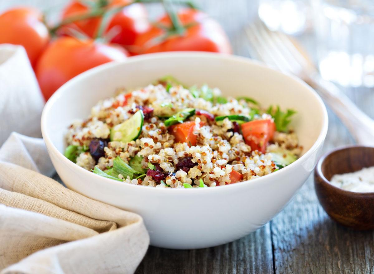 Quinoa greek salad tomato cucumber herbs