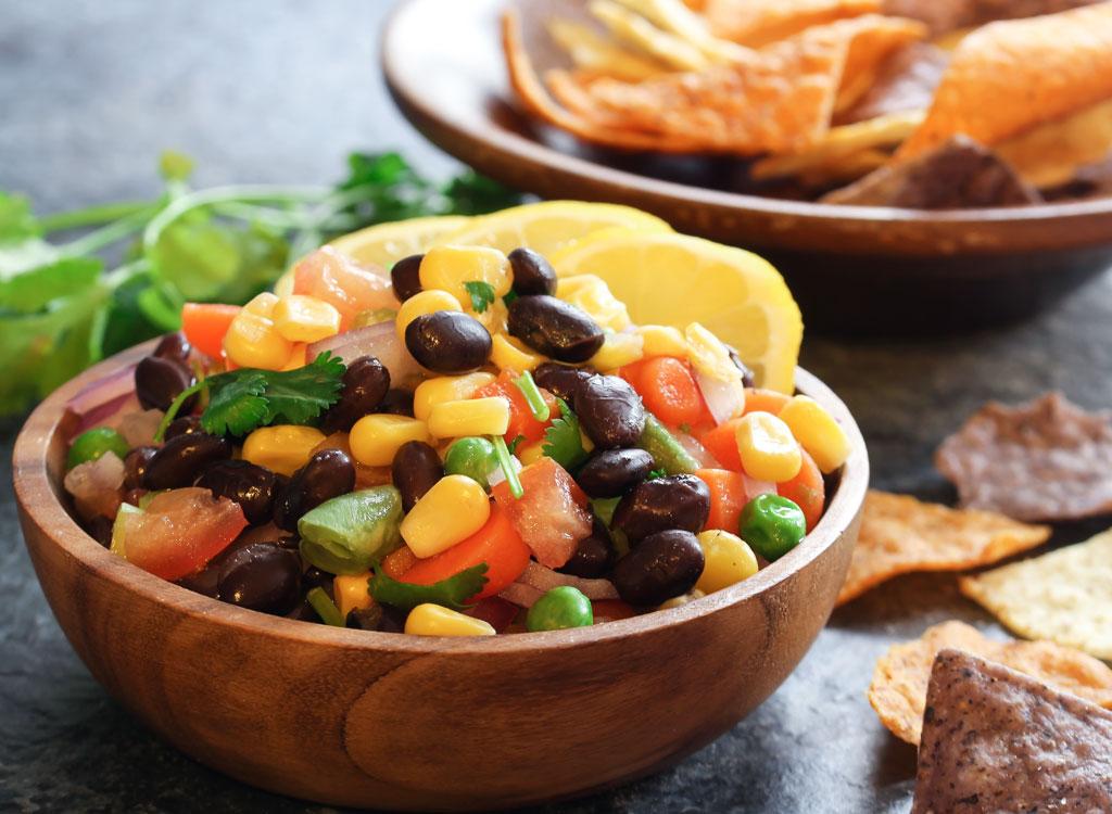 Black bean corn salsa chips
