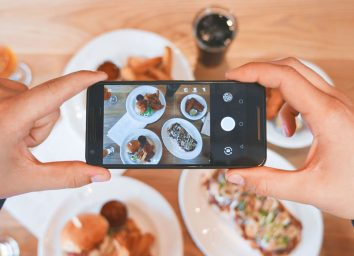 Taking a photo of food with phone
