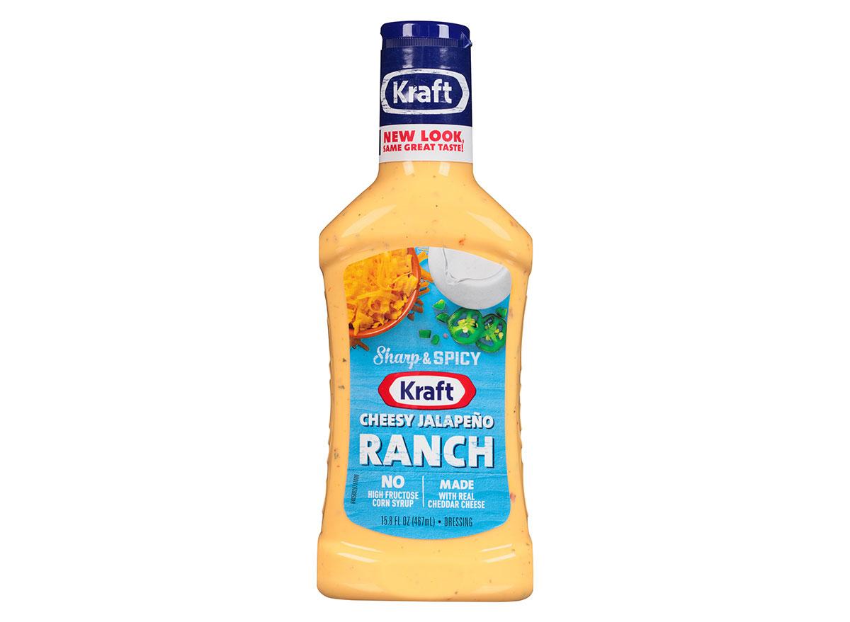 bottle of kraft cheesy jalapeno ranch dressing