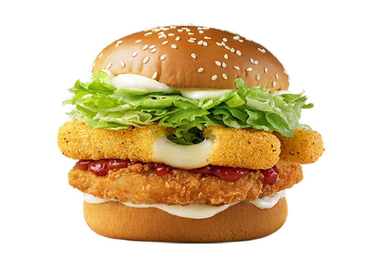 mcdonalds korea chicken sandwich with mozzarella sticks