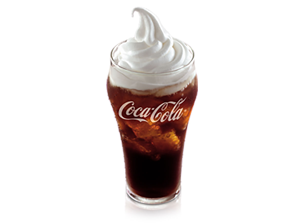 mcdonalds mcfloat coke topped with soft serve