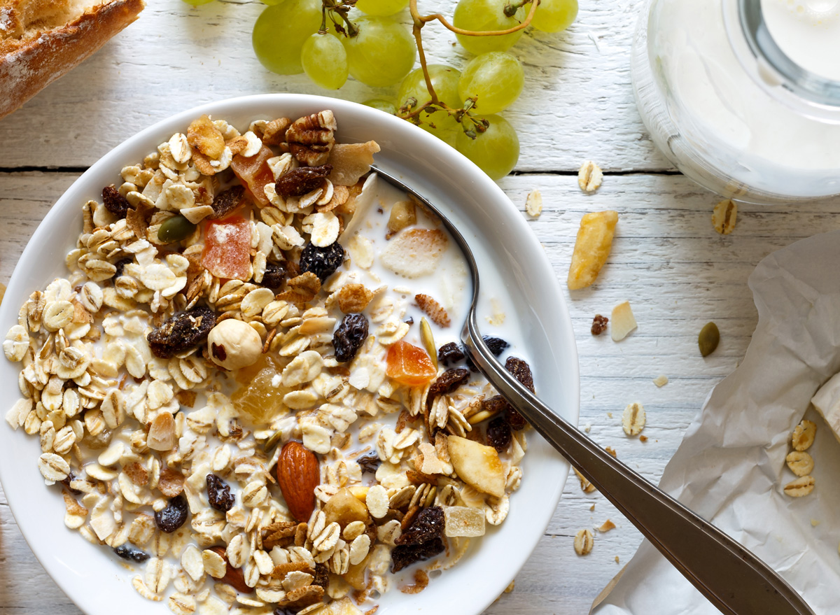 Breakfast muesli as cereal substitute with nuts oats granola