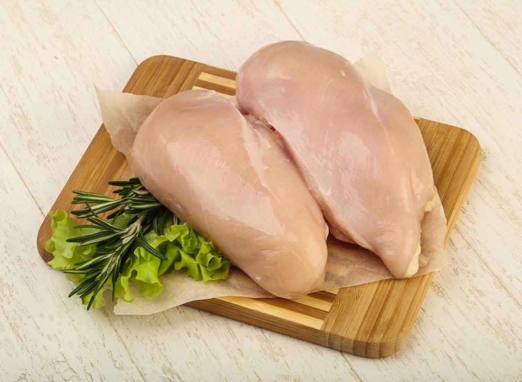 Skinless uncooked chicken breasts
