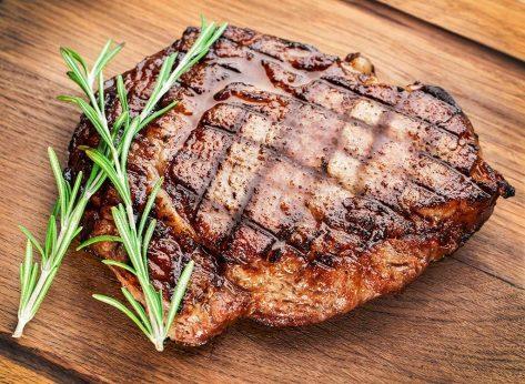 Center cut steak on cutting board