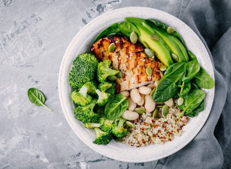 Healthy quinoa lunch bowl with chicken as protein avocado as fat and vegetables broccoli and spinach and beans