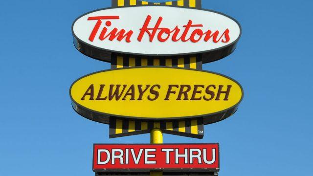 Tim Hortons drive thru sign