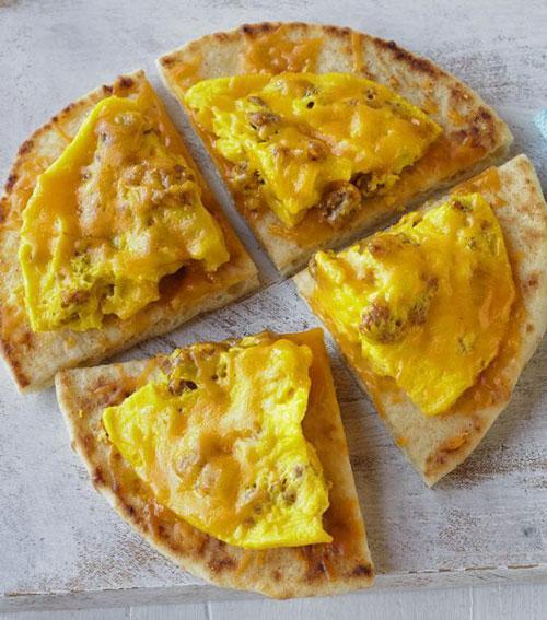 Egg flatbread quarters