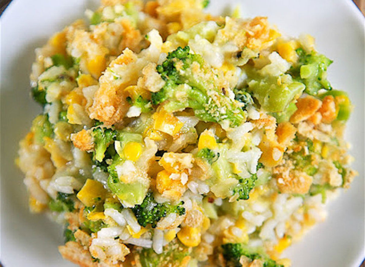 Corn broccoli and rice casserole finished on a plate