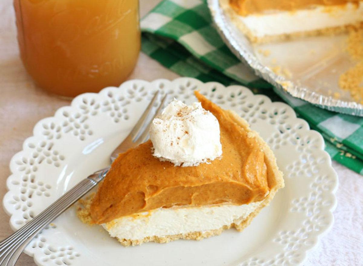 Slice of no-bake double layer pumpkin pie
