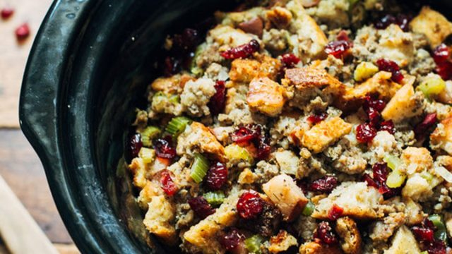 Pear and sausage stuffing in a slow cooker