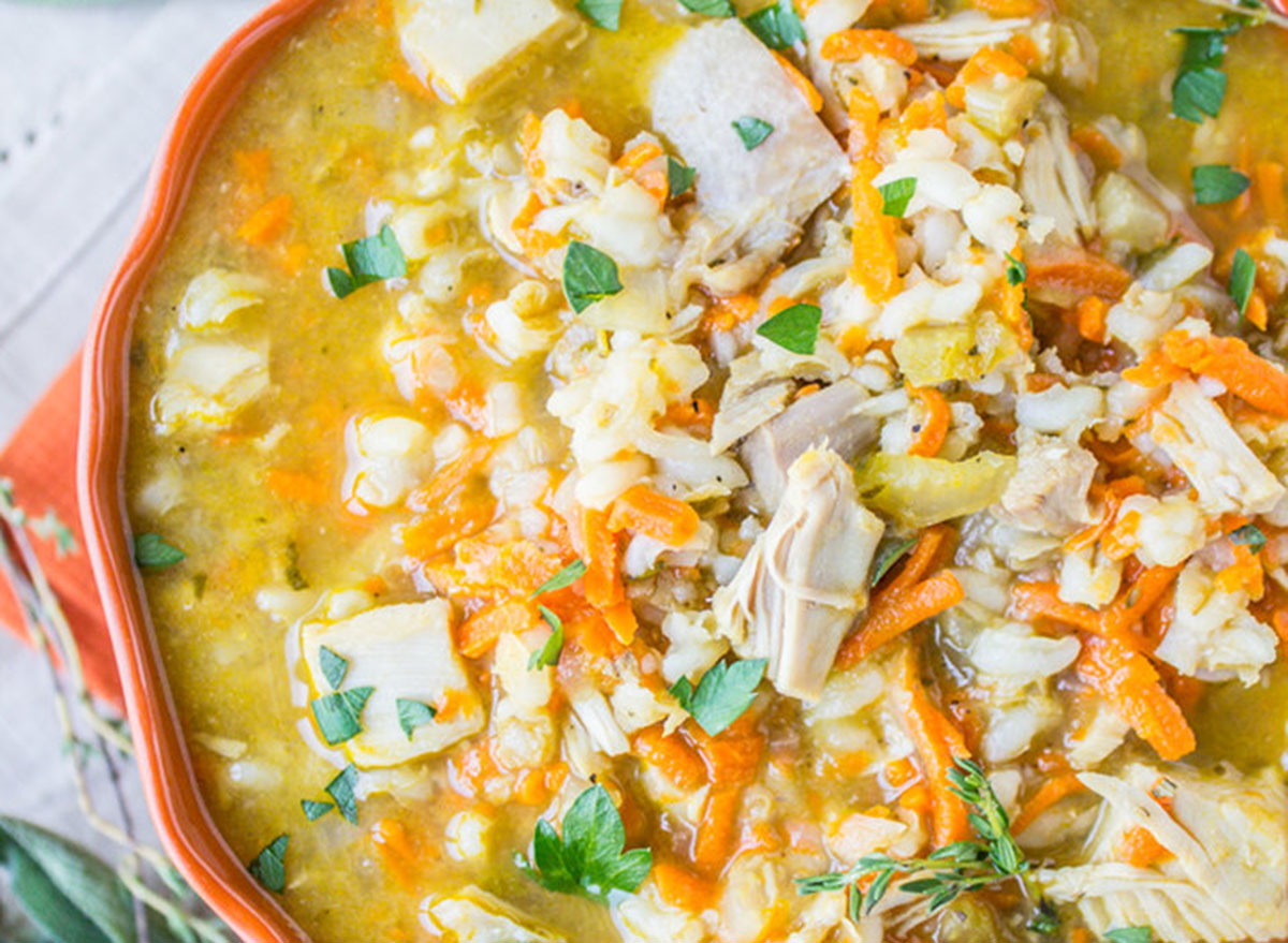 Turkey barley soup in a large bowl
