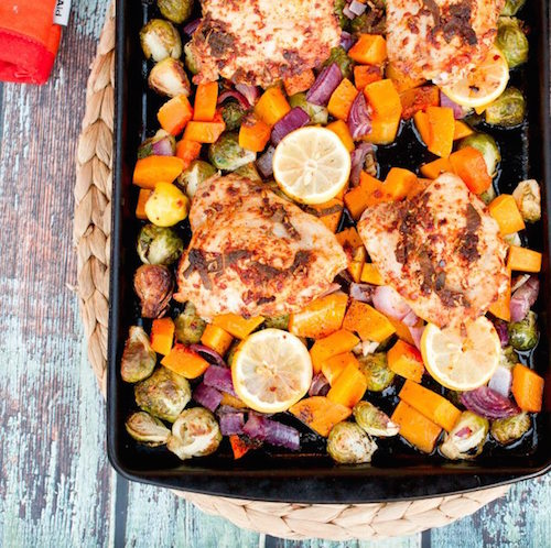 Roasted Chicken with Butternut Squash and Brussels Sprouts