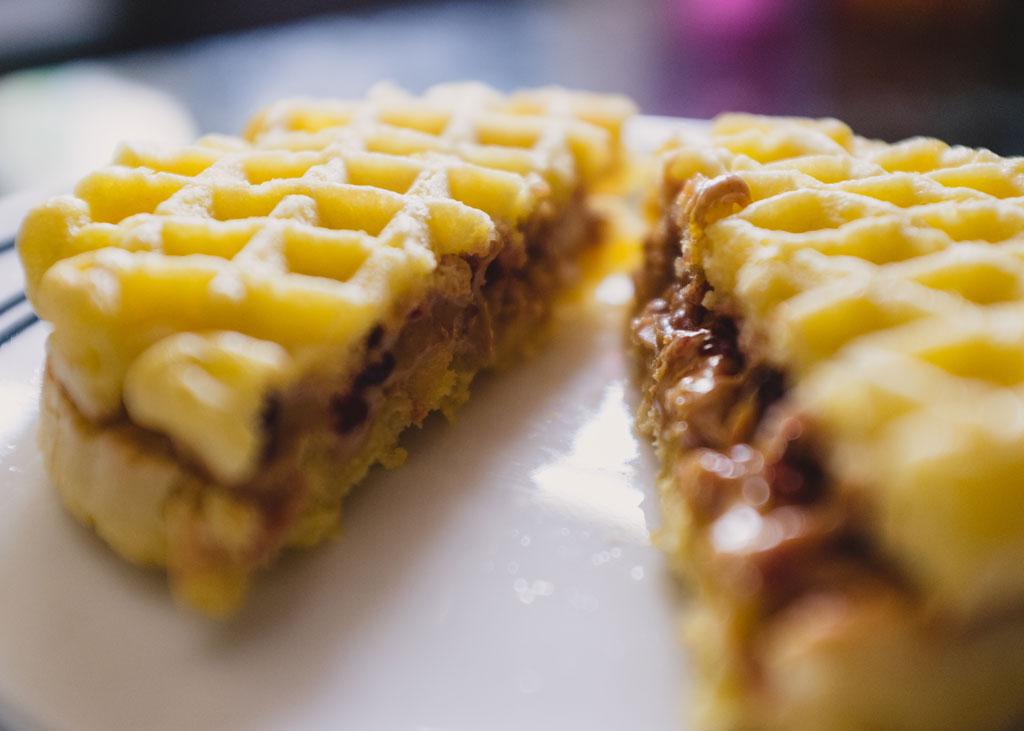 Peanut butter jelly waffle
