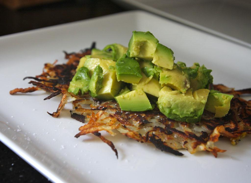 Hash brown potato avocado toast