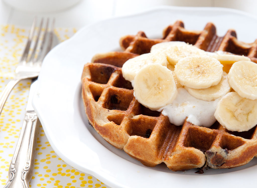 Waffle honey yogurt bananas