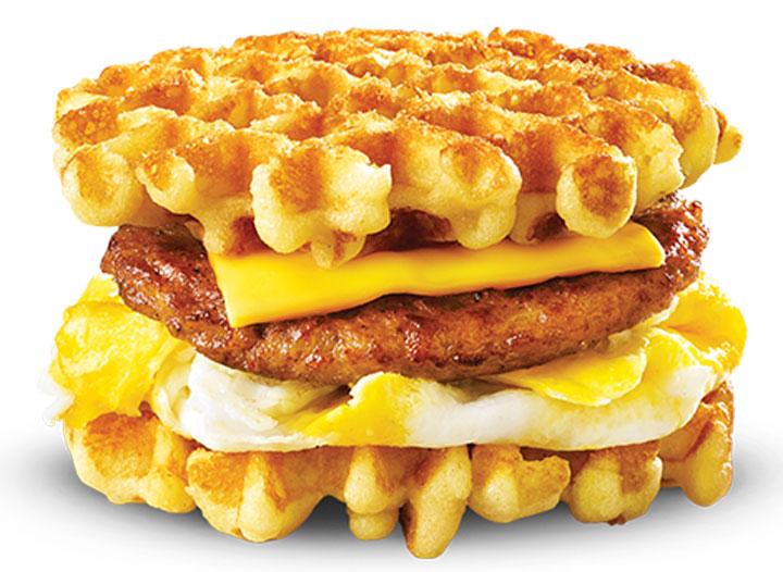 White castle waffle sandwich