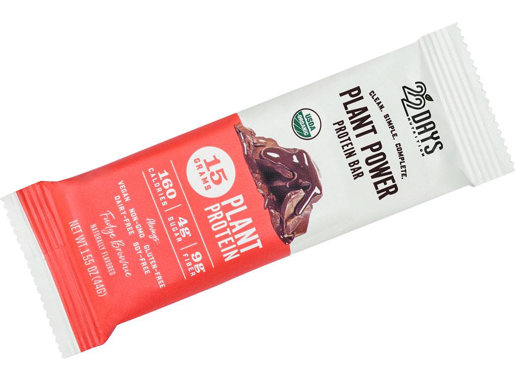22 days nutrition fudge brownie plant based protein bar