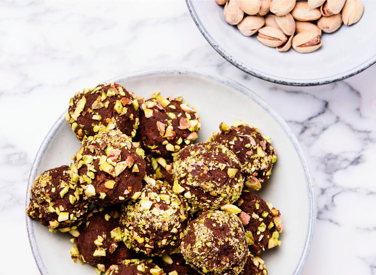 Chocolate pistachio energy ball bites