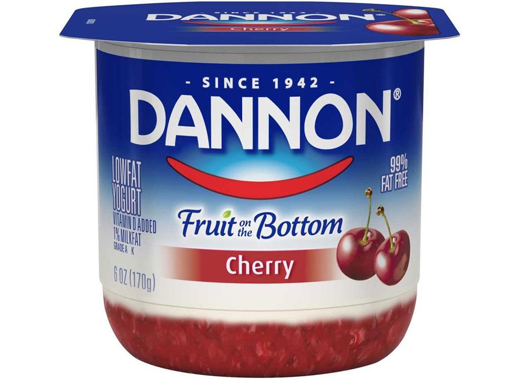 Dannon fruit on the bottom cherry