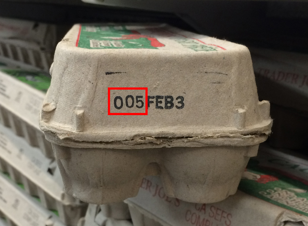 Code on egg carton for freshness and day of year