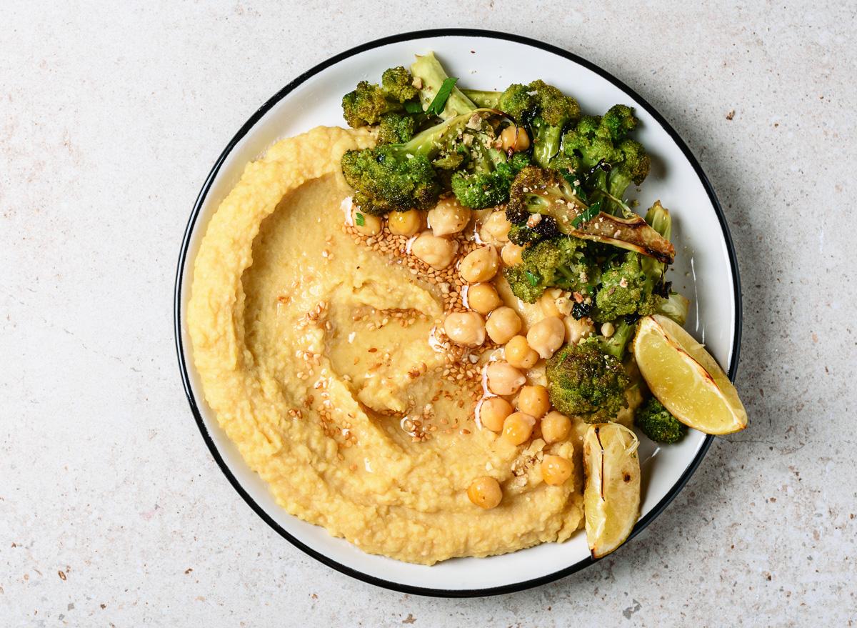 Roasted broccoli chickpea hummus