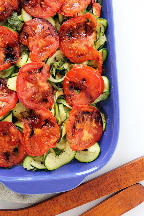Baked tomatoes zucchini