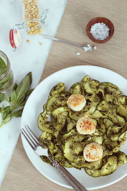 zoodles and scallops