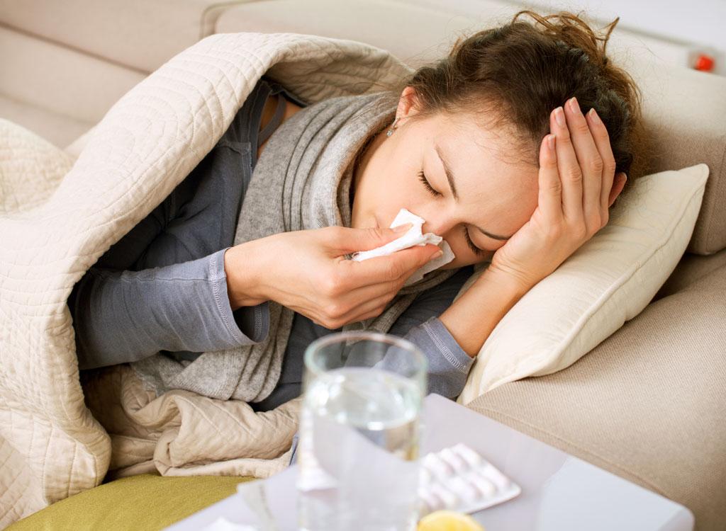 Woman sick cold