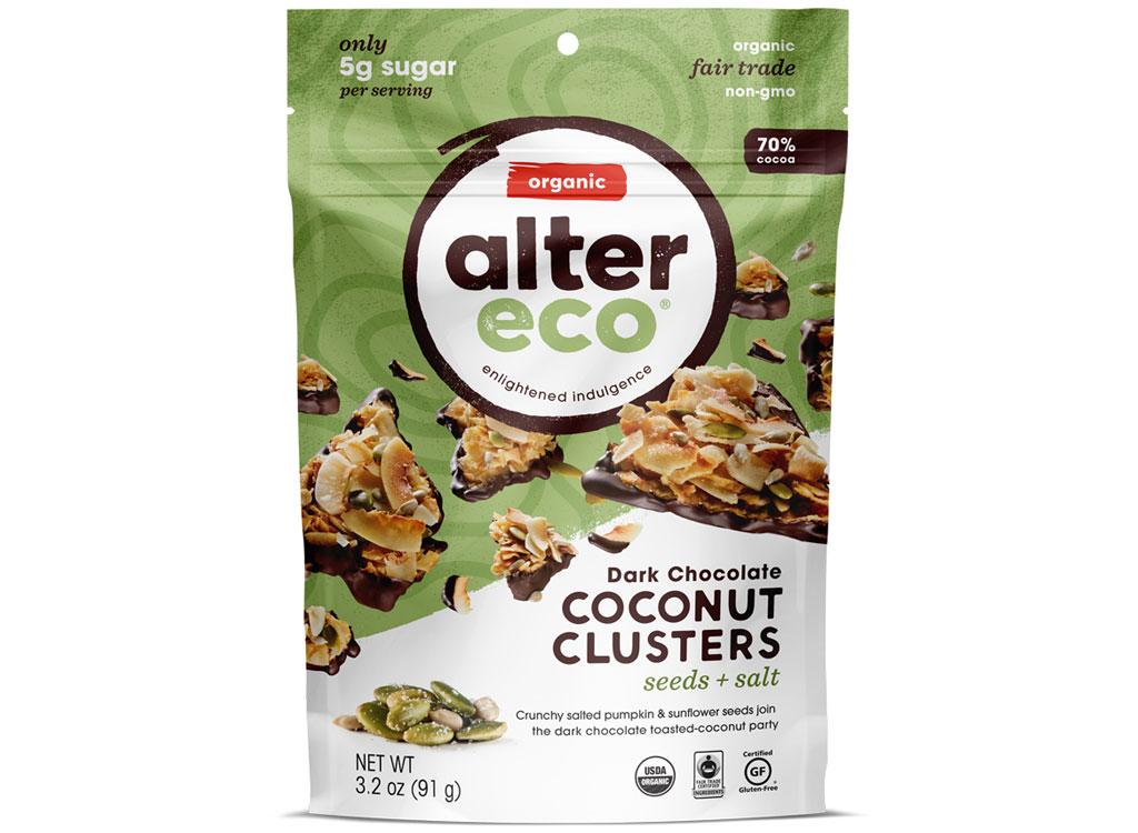Alter eco coconut clusters dark chocolate seeds salt - low carb snacks