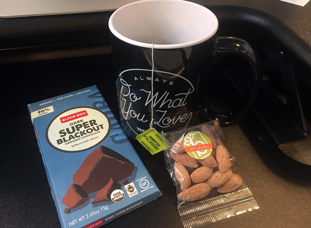 Green tea alter eco chocolate almonds